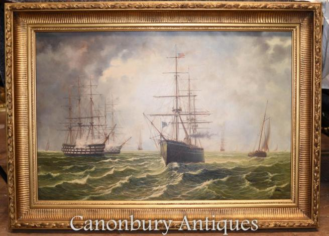 Maritime Oil Paintings Galleons English Channel Seascape