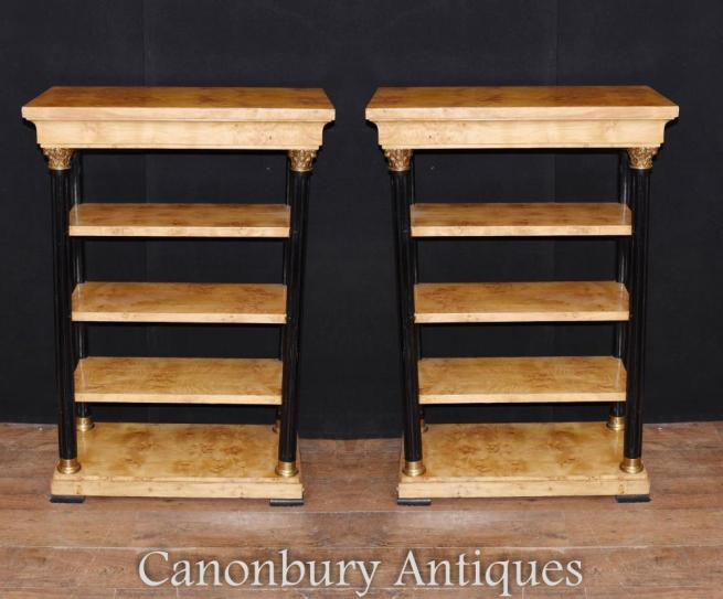 Pair Art Deco Bookcases What Nots