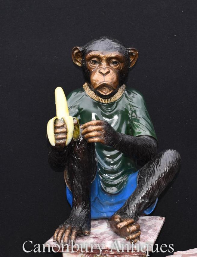 Pair Bronze Monkey Statues Chimpanzee Ape