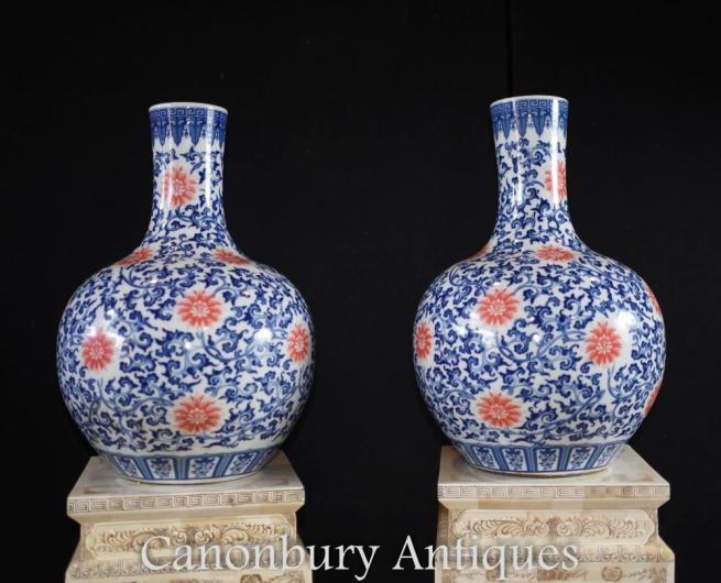 Pair Chinese Ming Porcelain Floral Bulbous Vases Urns