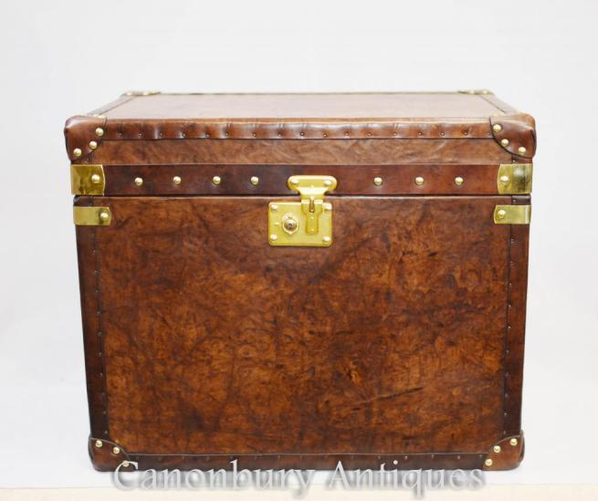 Pair English Leather Steamer Trunk Luggage Boxes Tables