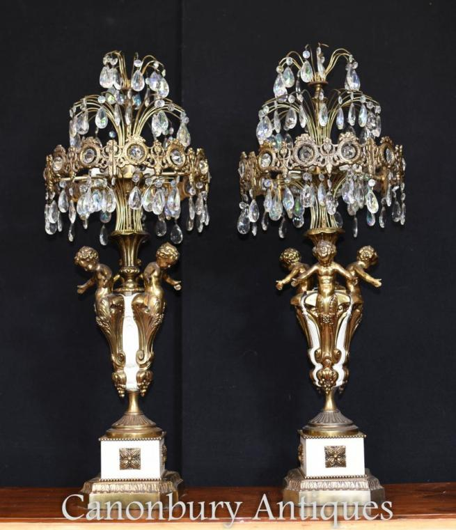 Pair French Empire Gilt Cherub Table Lamps Candelabras
