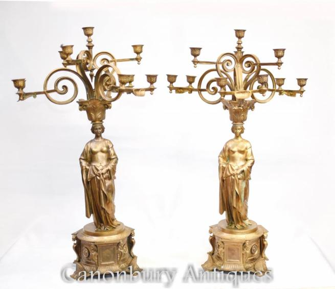 Pair French Empire Gilt Maiden Candelabras Candles