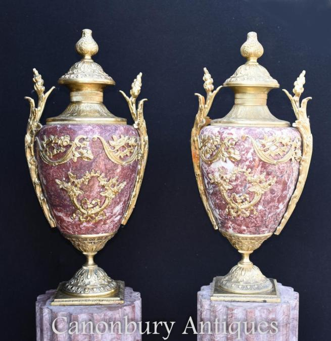 Pair French Empire Marble Amphora Urns Vases Ormolu Fixtures
