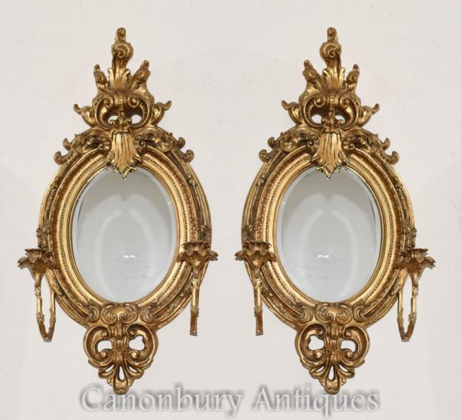 Pair French Louis XVI Gilt Girandoles Mirrors Candelabras