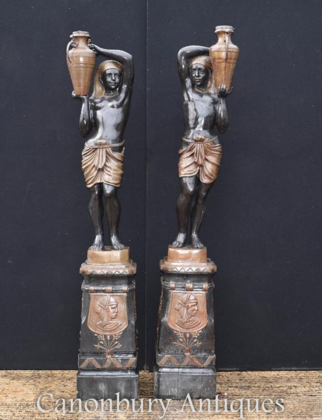 Pair Large Bronze Blackamoor Statues Garden Architectural Figurines