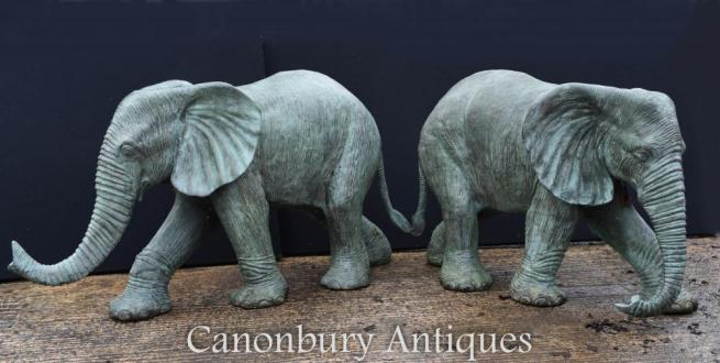 Pair Large Bronze Elephant Statues Water Fountains
