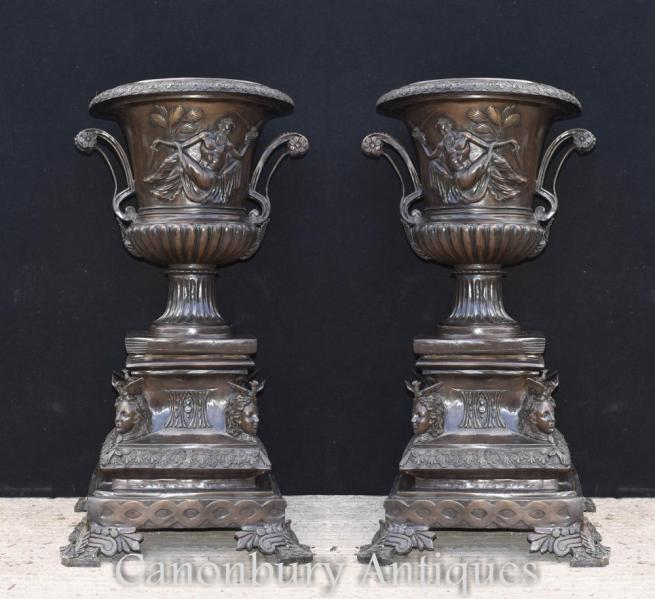 Pair Large Bronze Italian Campana Urns Classical Planters