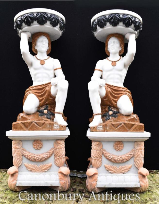 Pair Large Stone Marble Atlas Figure Urns Vases Garden Statues