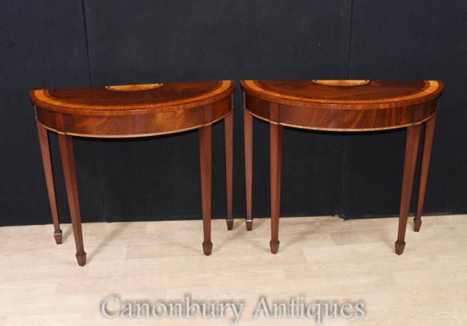 Pair Mahogany Console Tables HepplewhitePair Mahogany Console Tables Hepplewhite