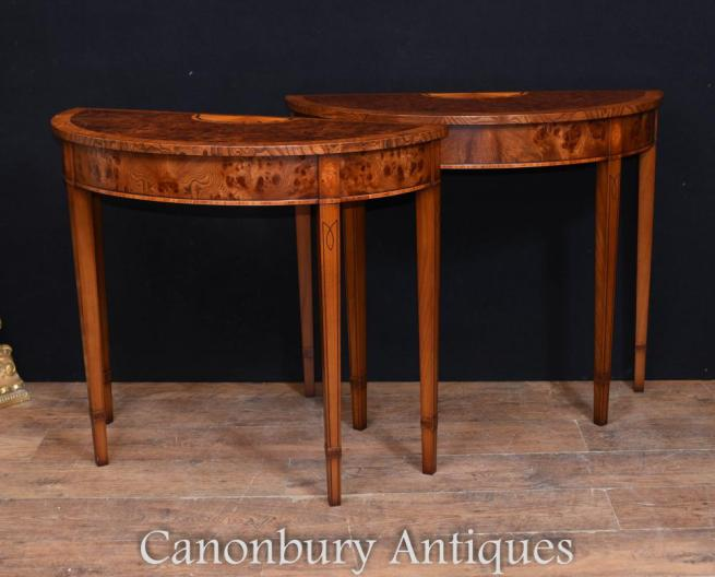 Pair Regency Adams Walnut Console Tables Demi Lune