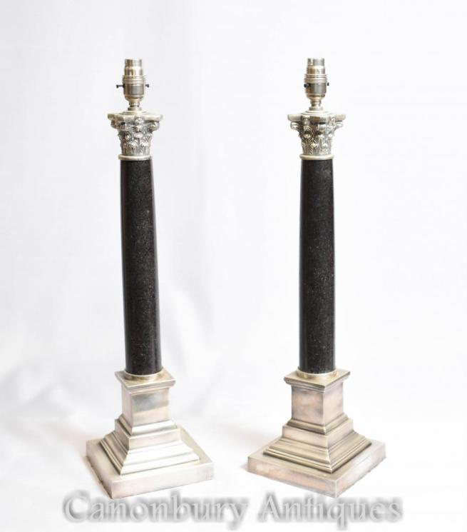 Pair Regency Corinthian Column Table Lamps Lights Silver Plate