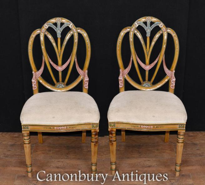 Pair Sheraton Painted Satinwood Dining Chairs