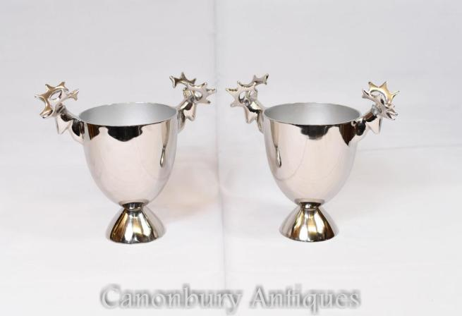 Pair Silver Plate Wine Cooler Champagne Buckets Stags
