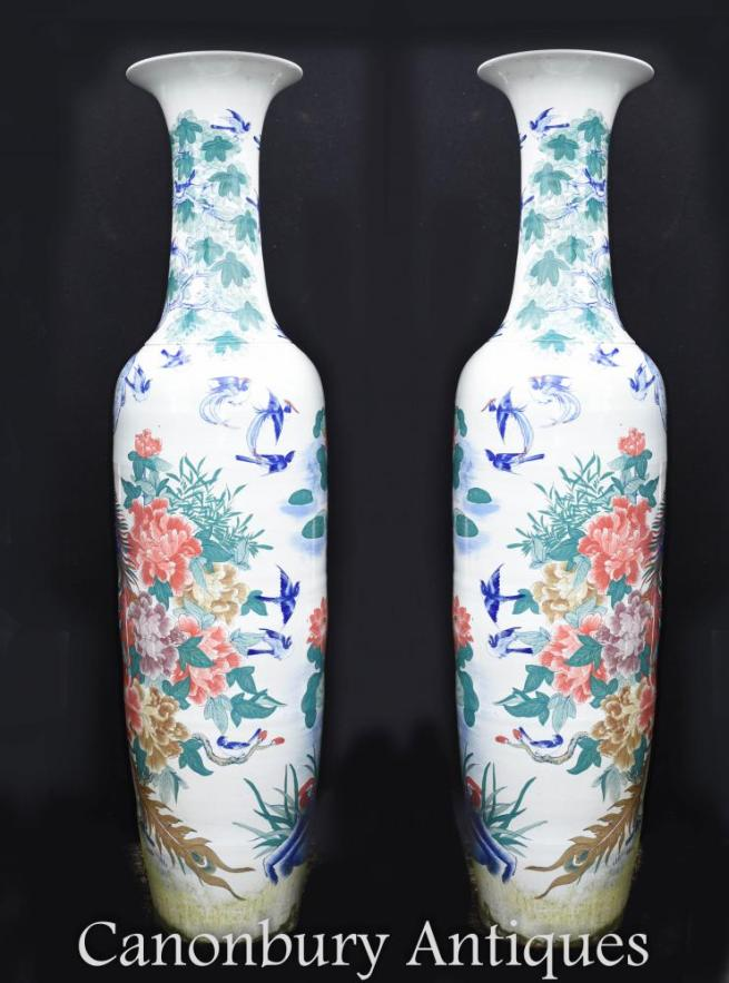 Pair XL Chinese Porcelain Imperial Qing Temple Vases Urns