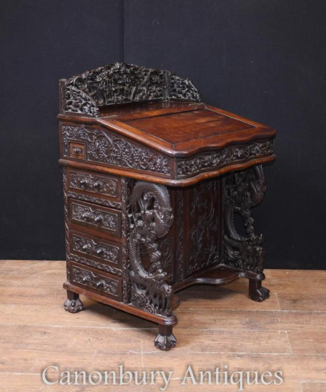 Rare Antique Chinese Davenport Desk Hand Carved Hardwood 1860