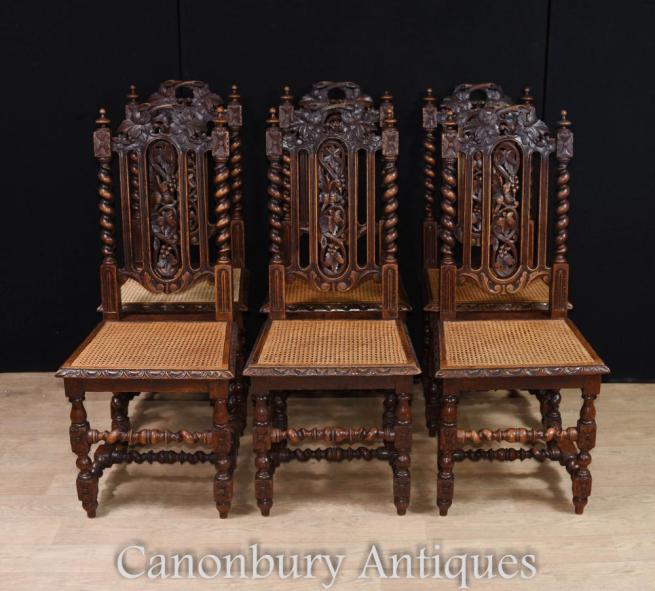 Set 6 English Oak Barley Twist Dining Chairs