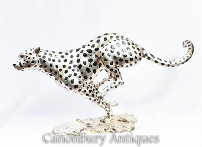 Silver Bronze Running Cheetah Cat Statue Art Deco Panther