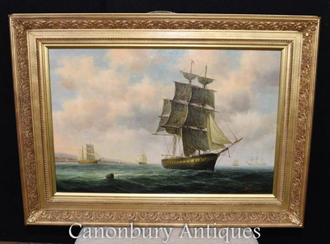 Victorian Oil Painting Bristol Channel Clipper Maritime Seascape