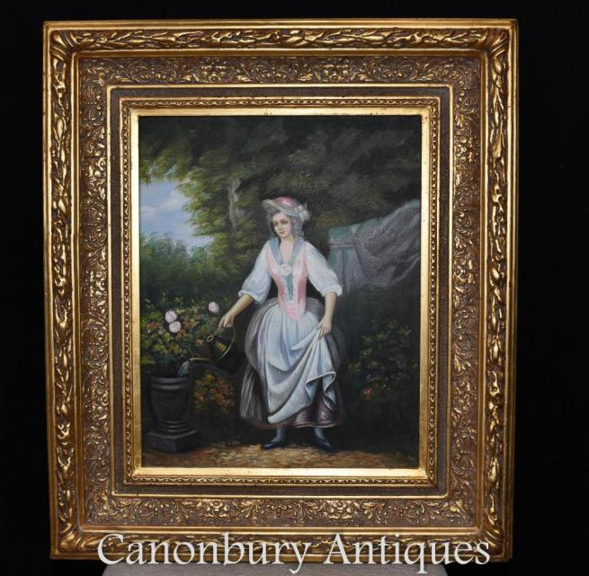 Victorian Oil Painting Gardening Lady Portrait Gilt Frame