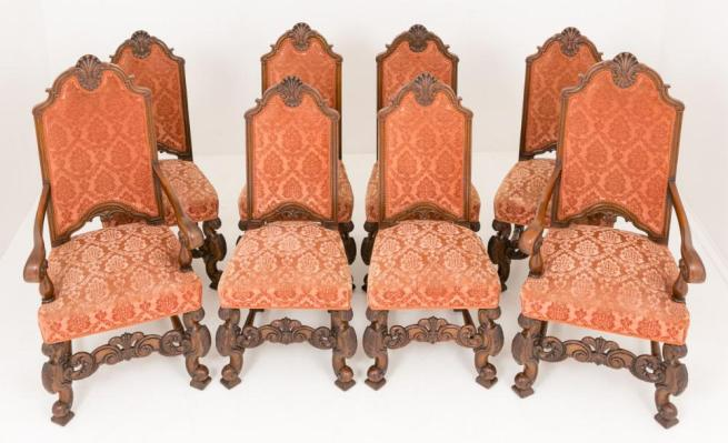 8 Carolean Victorian Dining Chairs Circa 1870