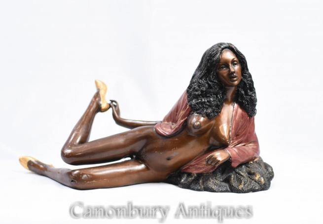 Bronze 70 Sexy Lady Semi Nude Figurine Erotica Kitsch