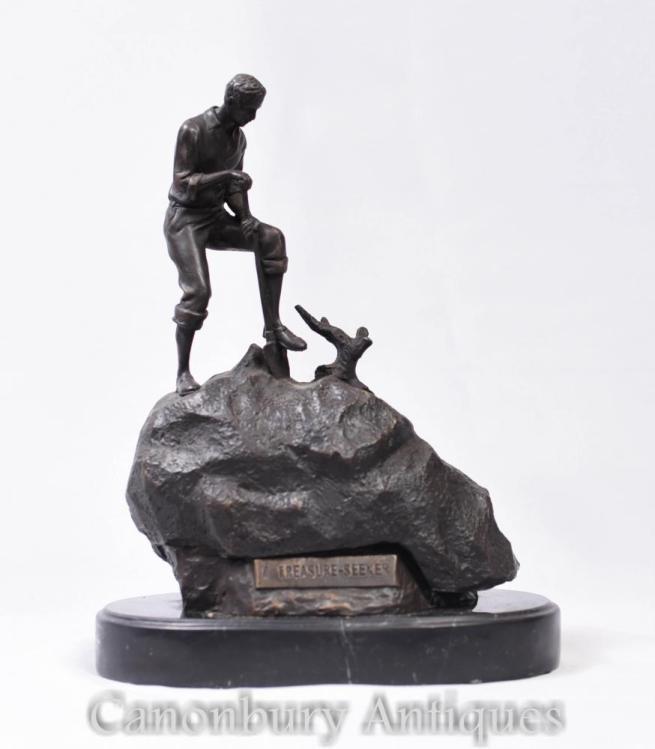 Bronze Treasure Seeker Statue by Bergman Carl Kauba