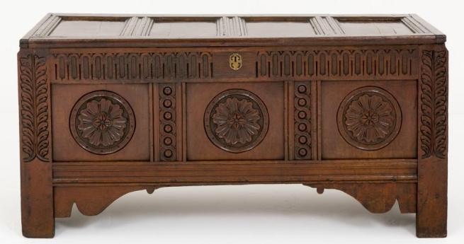 Carved Oak Coffer Chest Circa 18th Century