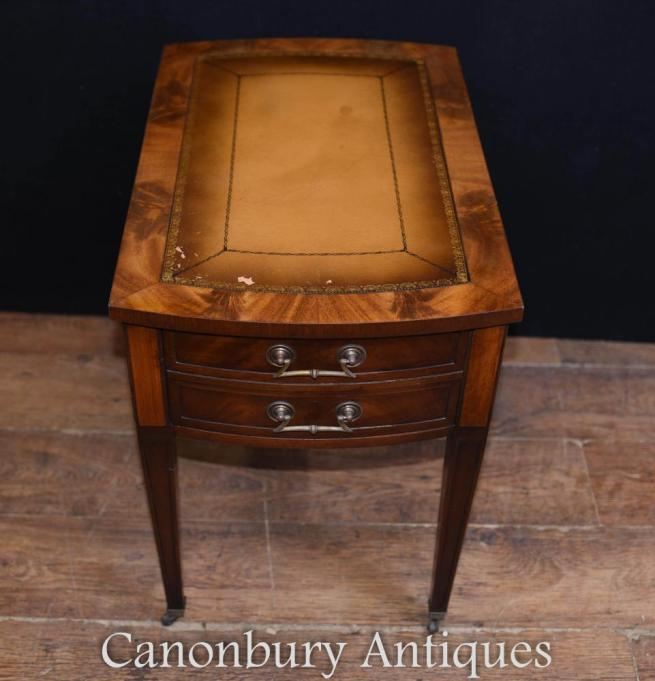 Edwardian Side Desk Table Mahogany Leather Toppped