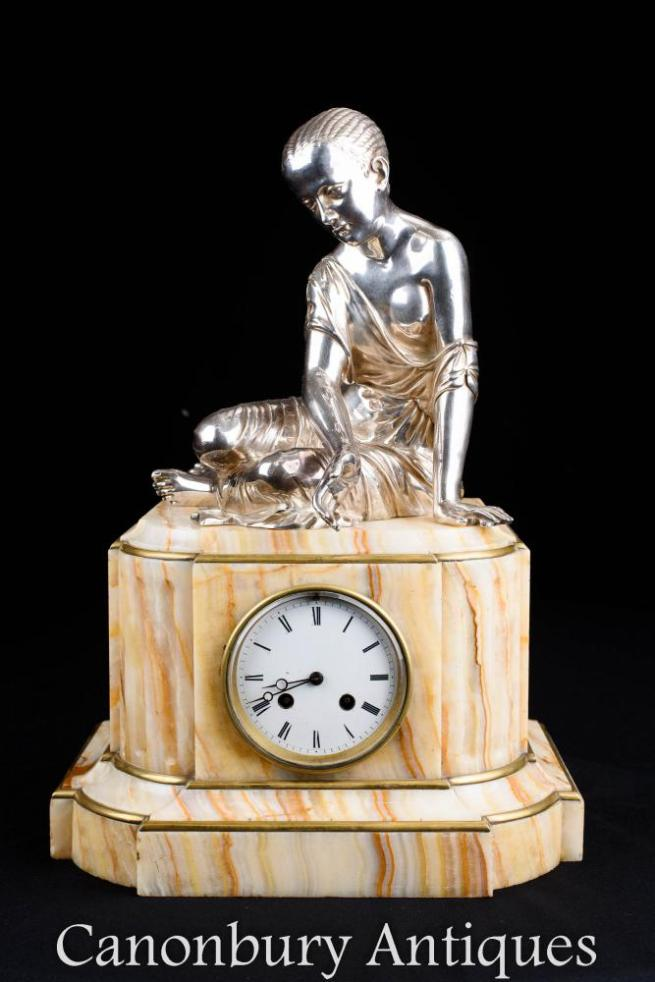 Empire Mantle Clock Onyx and Silver Plate Female Figurine