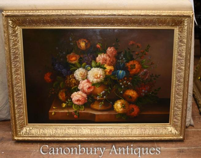 Floral Spray Oil Painting English Victorian Flower