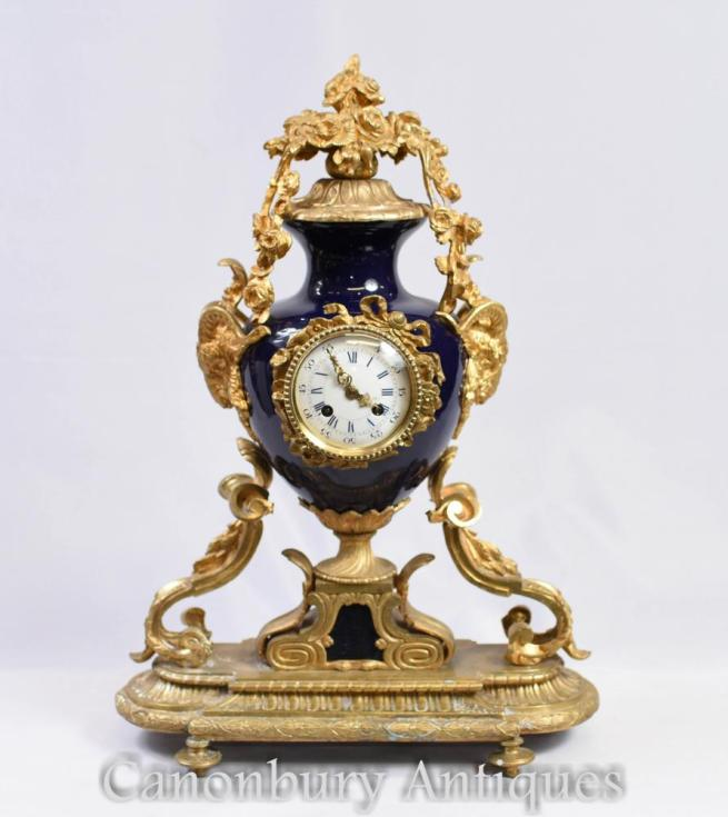 French Empire Mantle Clock Ormolu and Porcelain Clocks