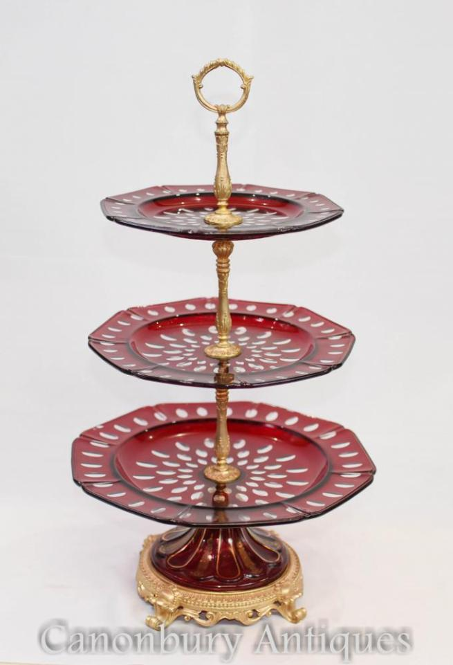 French Glass Cake Stand Empire Three Tier Plates