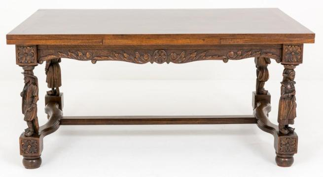 French Oak Refectory Dining Table Carved Legs 1890