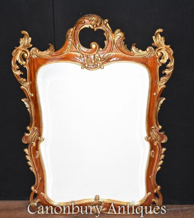 French Rococo Gilt Pier Mirror Glass Mirrors