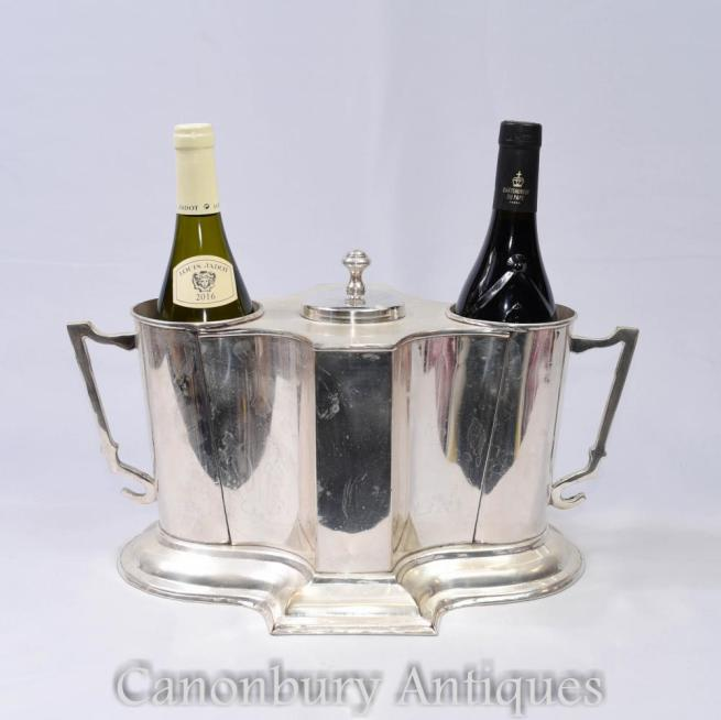 French Silver Plate Wine Cooler Grand Cru Chateau