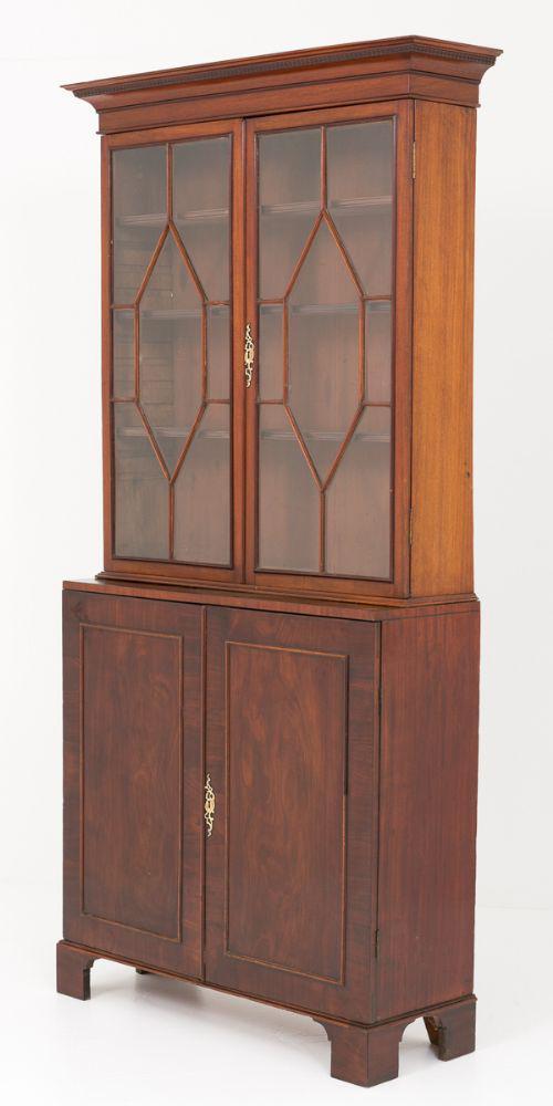 Georgian Glazed Bookcase Cabinet Mahogany Circa 1800
