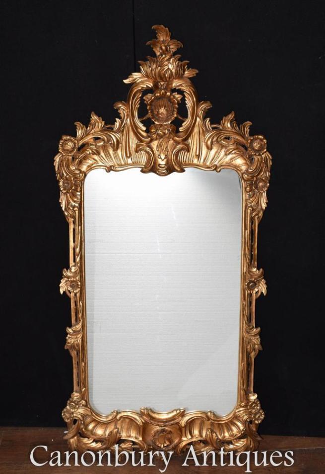 Gilt Chippendale Pier Mirror Rococo