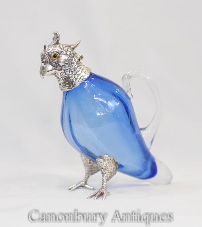 Glass Parrot Decanter Jug Victorian Silver Plate