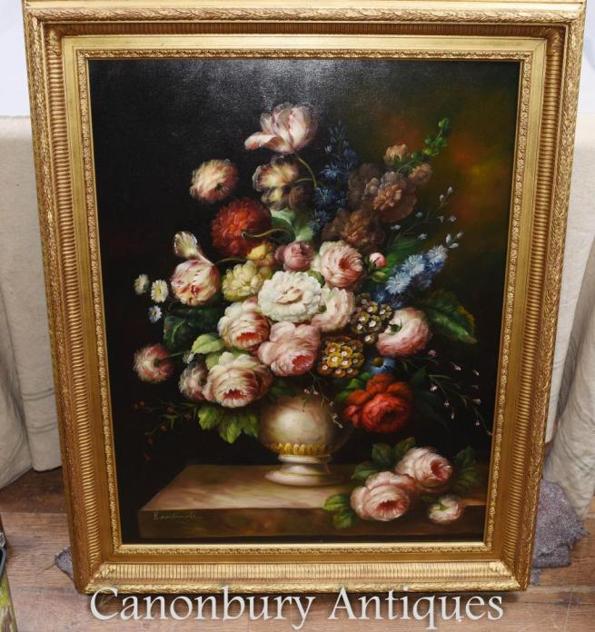 Large Victorian Flower Display Still Life Oil Painting