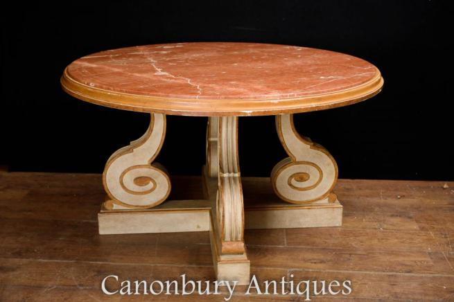 Painted Italian Centre Table - Round Dining Tables Scroll Legs
