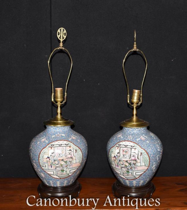Pair Chinese Porcelain Table Lamps Lights Painted