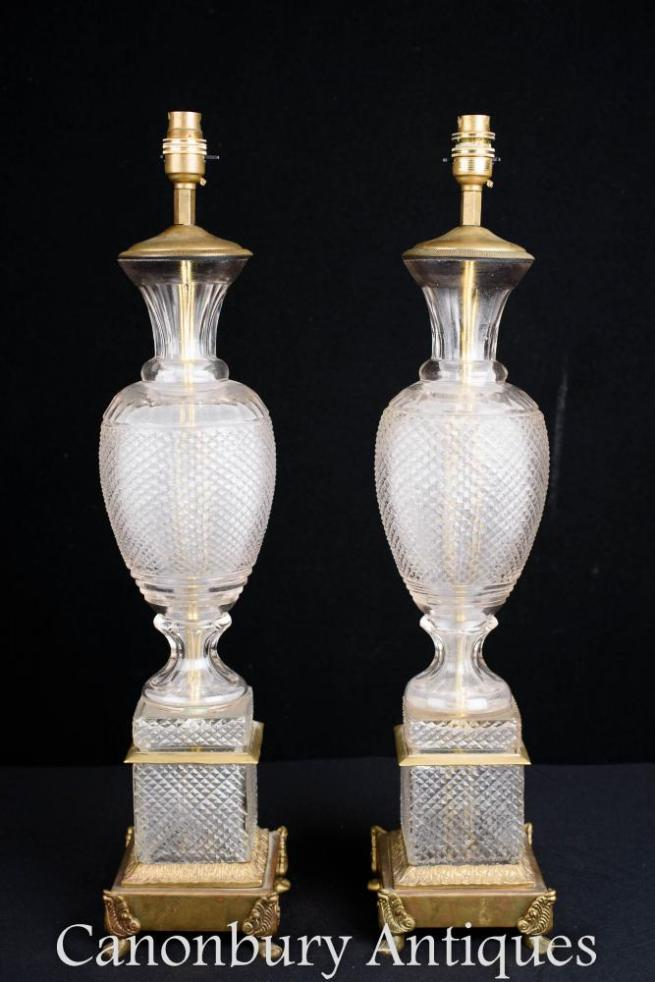 Pair French Empire Cut Glass Table Lamps Urn Lights