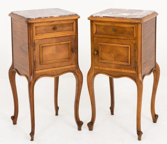 Pair French Walnut Bedside Chests Nightstands 1880