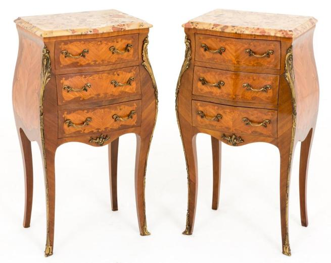 Pair Shaped French Nightstands Walnut Bedside Chests