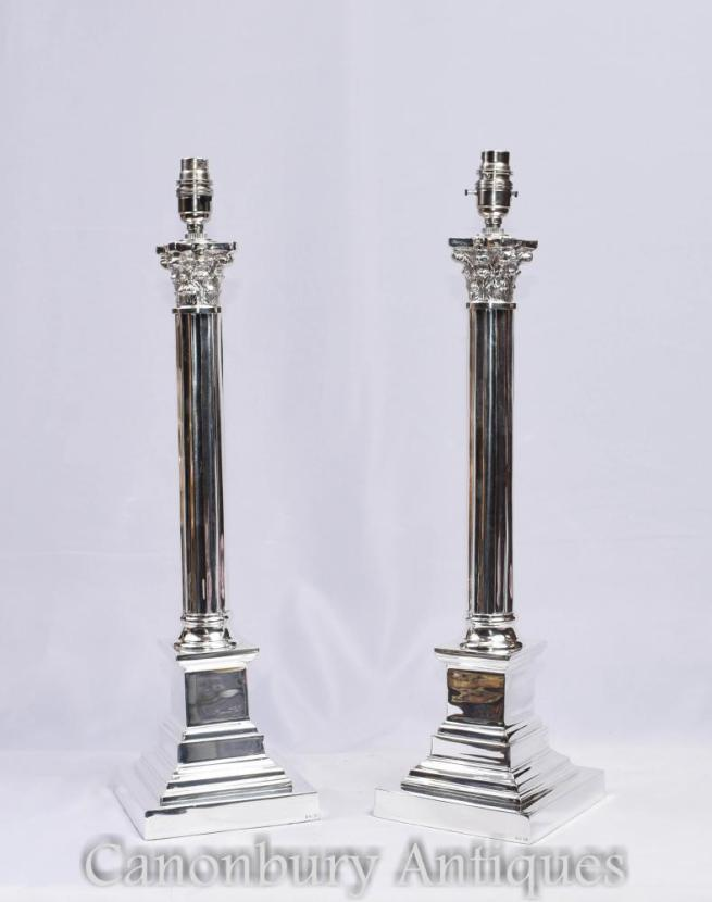 Pair Silver Plate Corinthian Column Lamp Bases Table Lights