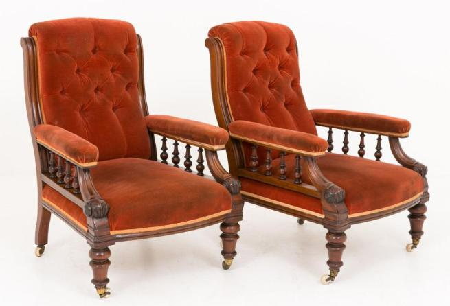 Pair Victorian Arm Chairs Seats Circa 1860