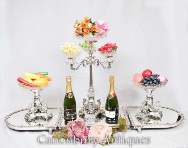 Silver Plate Epergne Centrepiece Display Elkington Glass Dish