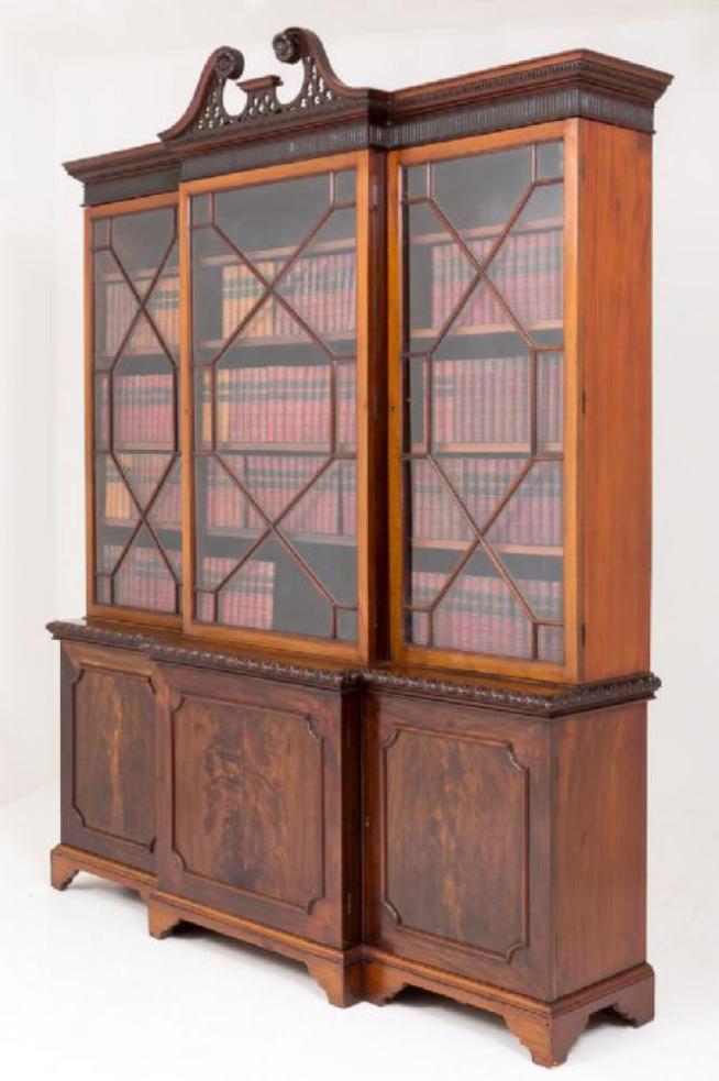 Victorian Breakfront Bookcase in Mahogany Circa 1880