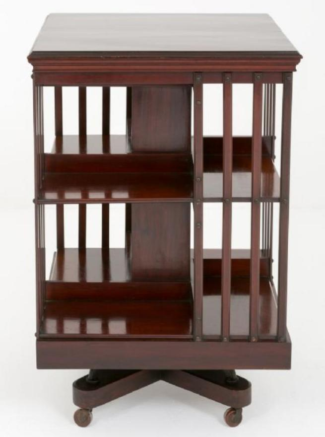 Victorian Mahogany Revolving Bookcase Shelf Support 1890